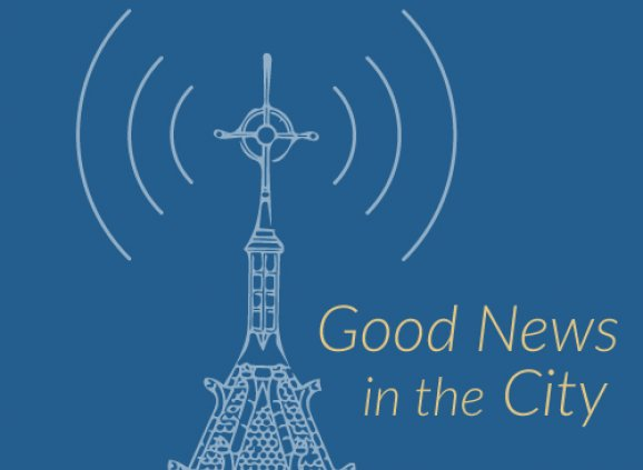 "The logo for Good News in the City features the Trinity tower with sound waves radiating from it, with the text ""Good News in the City."""