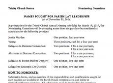 Nominations for Parish Leaders Due Jan. 10, 2017
