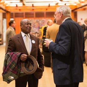 Parishioners holding conversation