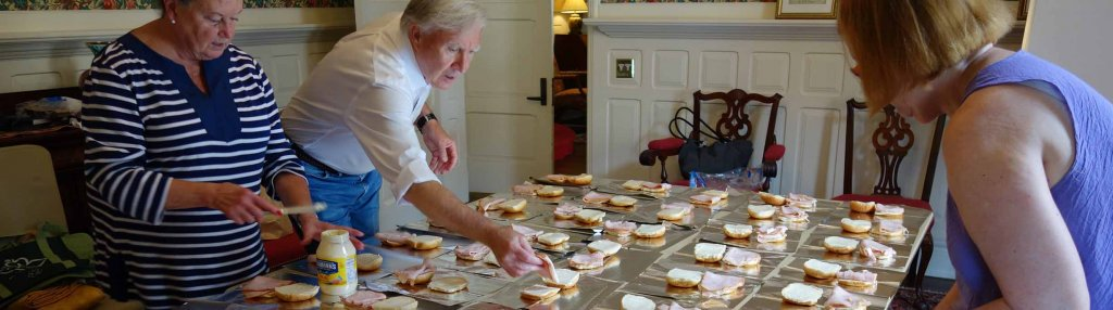 making sandwiches for Boston Warm
