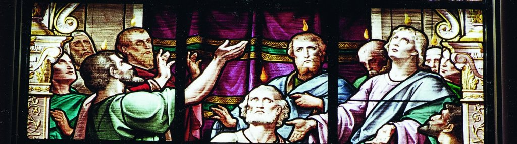 Stained glass depicting Pentecost