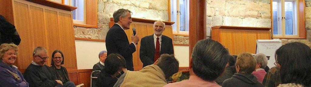 QuickSilvers member, Colin Diver, speaking with theologian Walter Brueggemann.