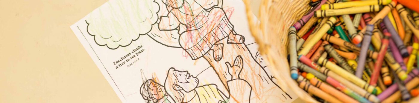 Church School coloring book with crayons